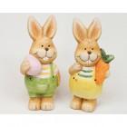 Hase aus Keramik mit Ei oder Karotte 10x5cm