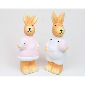Hase aus Keramik mit Ei Pastellfarben XL 13x5cm