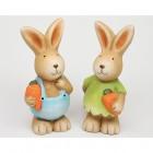 Hase aus Keramik mit Karotte 12x5x5cm 2-fach sort